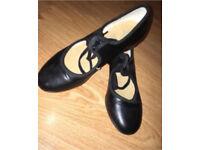 size 1 black tap shoes