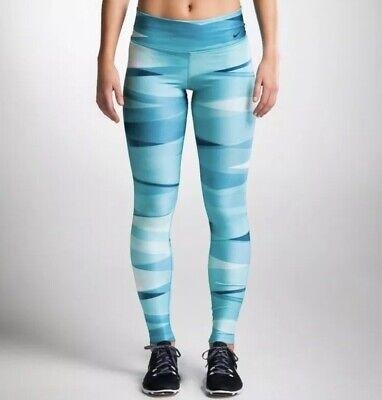 Nike Ribbon Wrap Running Legging Medium M Blue Tight Pant Stripe Print - Nike-ribbon