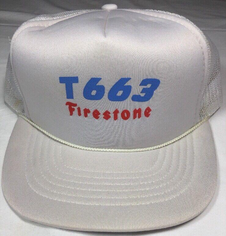 Firestone T663 Tires Vintage White Snapback Rope  Hat mesh back truckers cap
