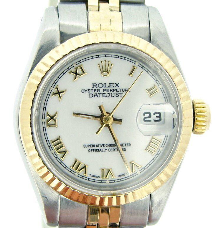 Rolex Datejust Ladies 2tone Yellow Gold & Steel Watch White Roman Dial 69173