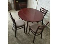 Mahogany Drop leaf table and 4 chairs