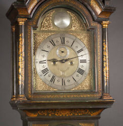 PERIOD QUEEN ANNE JAPANNED TALL-CASE FLOOR CLOCK, Lot 480
