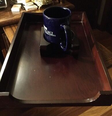 Vintage Bombay Co Cherry Mahogany Wood Letter Paper Tray Office Desk Organizer