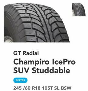 Winter tires (4)  SUV Champiro Icepro studdable 245/60 R18