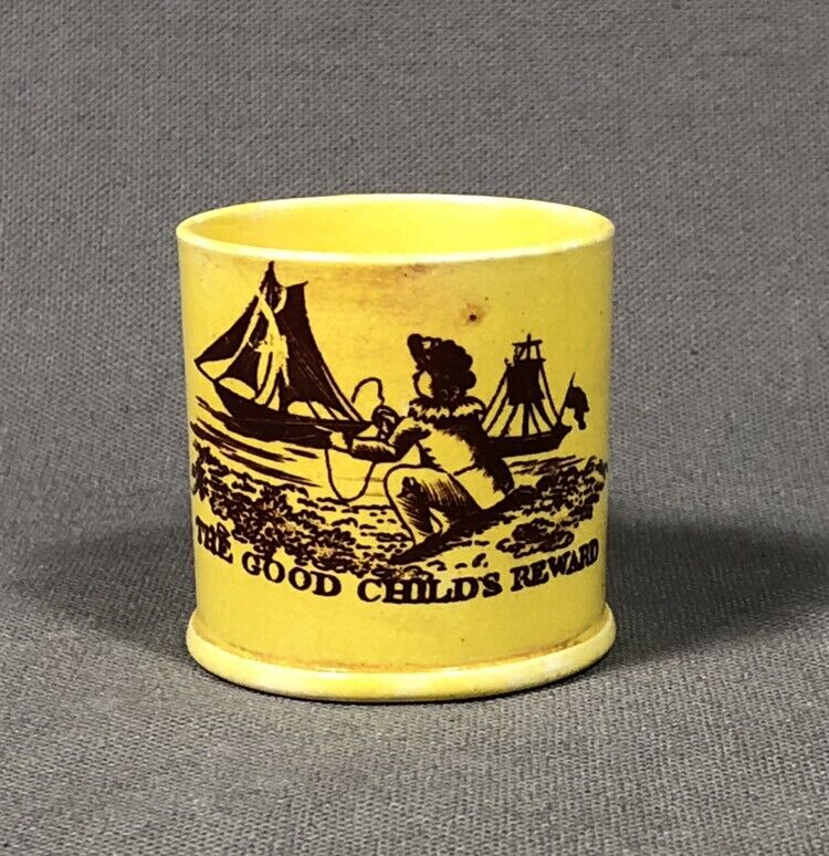 1820 Staffordshire Pottery Canary Yellow Childs Reward Merit Cup