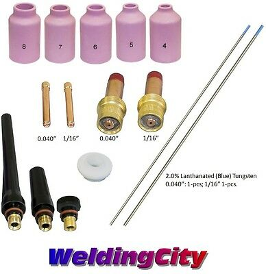 Tig Welding Torch 171826 Kit .040-116 Gas Lens Tungsten Blue T52b Us Seller