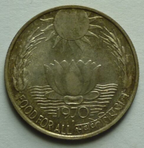 1970 (B) INDIA - 10 RUPEES - F.A.O. - LOTUS - BOMBAY MINT - UNC SILVER CROWN