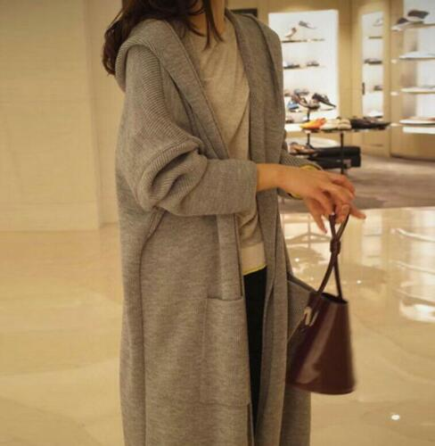 Damen Strickjacke Strickpullover Lange Mantel Strickmantel Outwear mit Kapuze DE