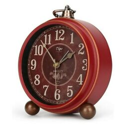 Number-One Classic Retro Alarm Clock, Red Vintage Non-Ticking Table Desk Small A