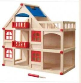 Wooden Dolls House £20, Fisher Price Car £40, Fisher Price Sis £5, Fisher Price Train £10