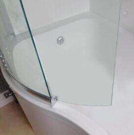aquaglass bath shower screen for P shaped bath, 1500 x 820mm. wrap around panel