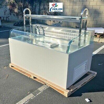 New 60 Commercial Open Air Refrigerator Island Sushi Sandwich Display Grab N Go