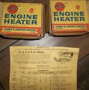 """2 - NEW CARTER BLOCK HEATERS WITH 1""""  NPT PIPE THREAD"""