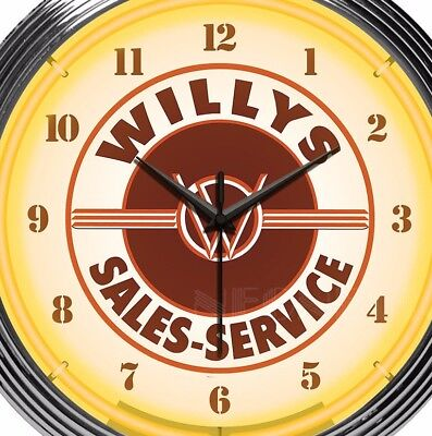 Jeep Willys Sales Service Neon Clock Brown Tan 15 Inch Office Game Room Garage