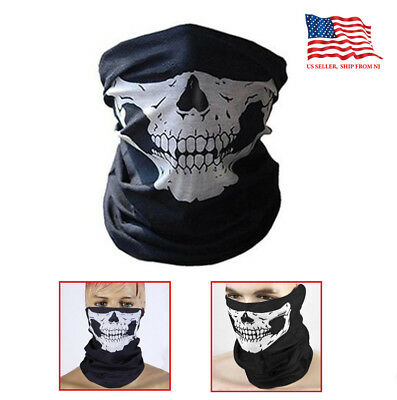 Black Motorcycle Half Face novel Skull Balaclava Mask thin fabric Helmet  - Skull Half Mask