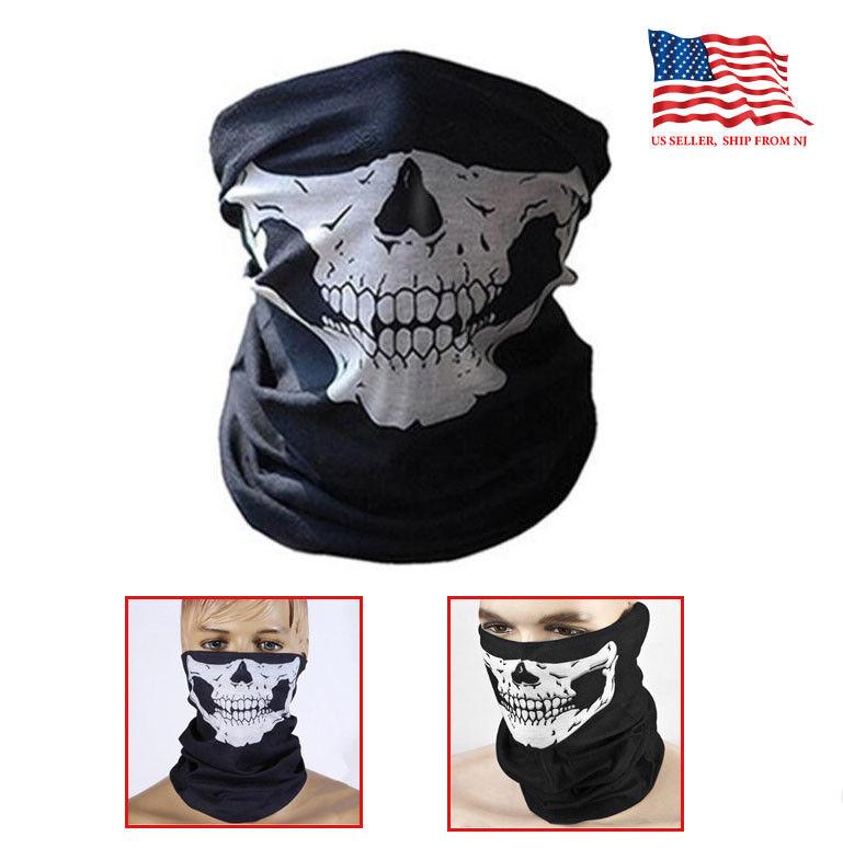 Black Motorcycle Half Face novel Skull Balaclava Mask thin fabric Helmet Accessories
