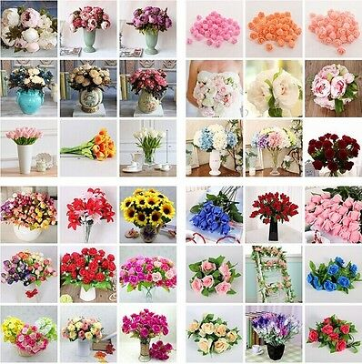 Pretty Artificial Silk Fake Leaf Peony Flowers Floral Wedding Party Home Decors