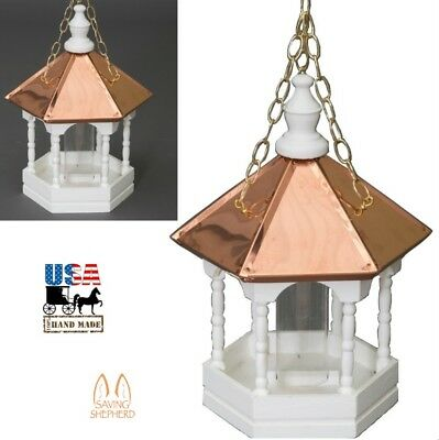 "22"" COPPER TOP BIRD FEEDER - Hanging Gazebo with Spindles Amish Handmade in USA"