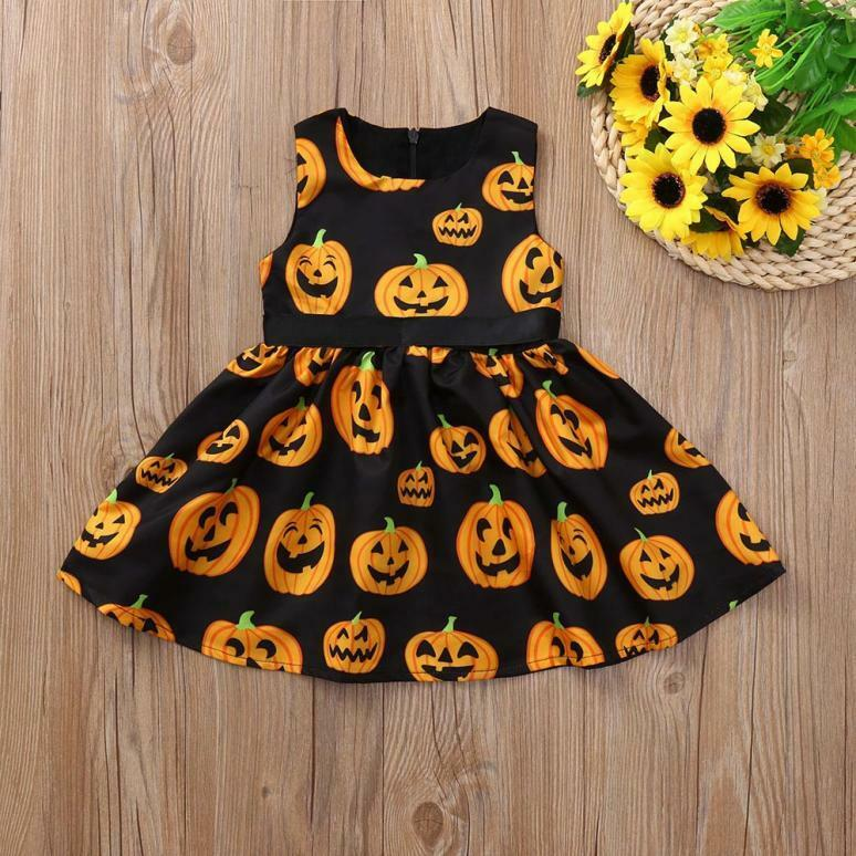 Toddler Infant Kids Baby Girl Cartoon Pumpkin Halloween Princess Dress Clothes