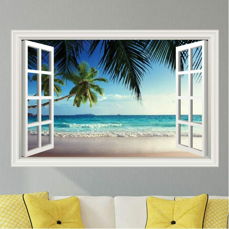 Beach Ocean Waves #2 Palm Trees Wall Decal Sticker Graphic