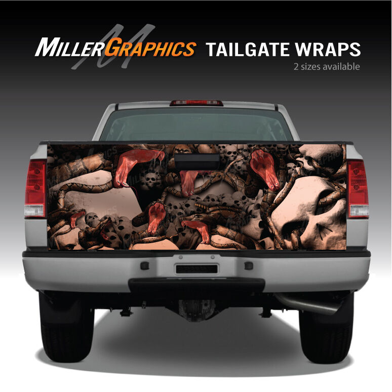 Red flame skulls grim reaper truck tailgate vinyl graphic decal wraps