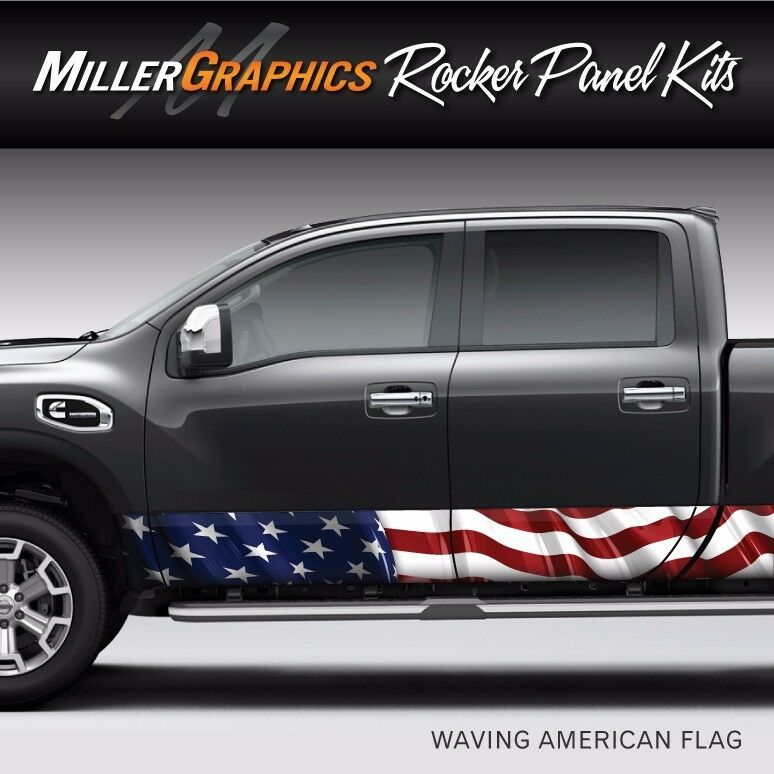 American Flag Waving Rocker Panel Graphic Decal Wrap Kit