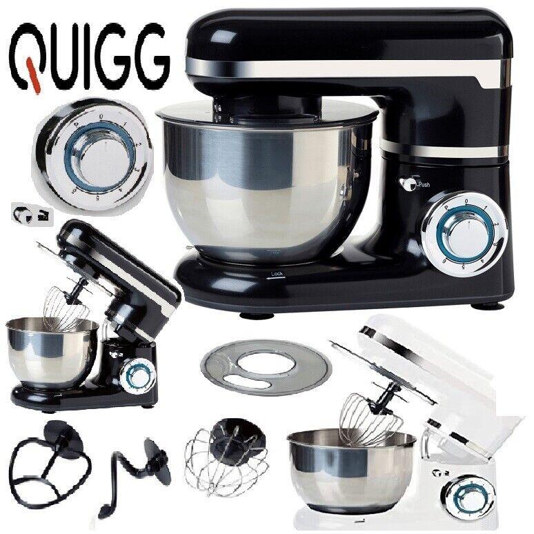 Küchenmaschine  QUIGG Retro 600 Watt 6 Leistungsstufen Puls Weiß& Schwarz NEU