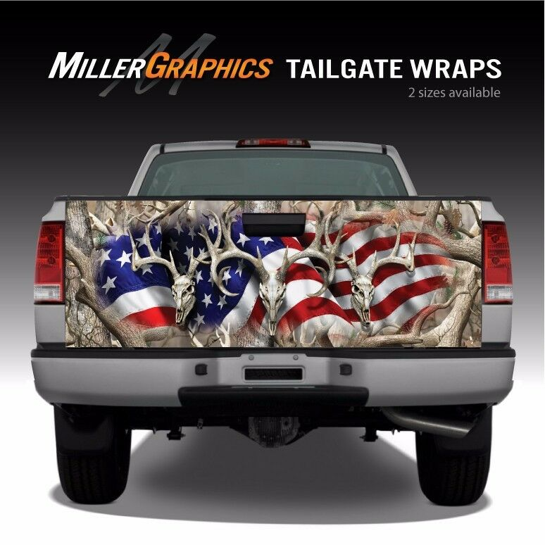 Tailgate Wrap American Flag Buck Skulls with Obliteration Camo Red White Blue