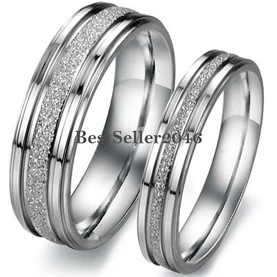 Band Silver Tone Ring - Silver Tone Stainless Steel Frosted Centered Wedding Band Couple Engagement Ring