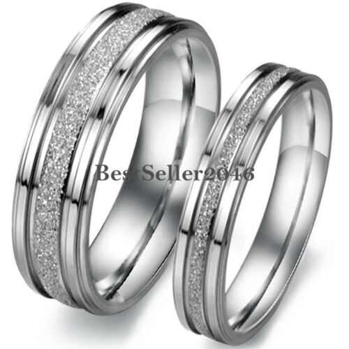 Ring - Silver Tone Stainless Steel Frosted Centered Wedding Band Couple Engagement Ring