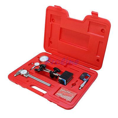 6 Pc Machinist Starter Kit 1 Dial Indicator W Magnetic Base Holder Micrometer