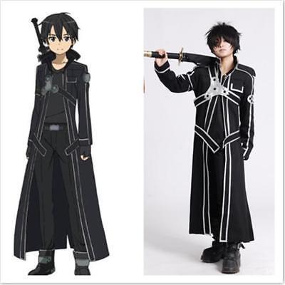 HOT Anime Sword Art Online Kirito Kazuto Kirigaya Cosplay Black  - Costumes Online