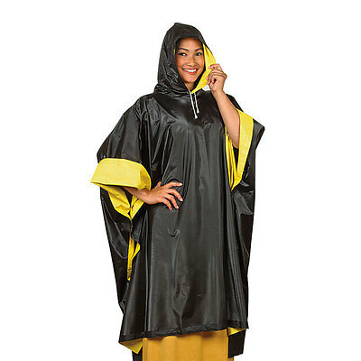 Heavy Duty Unisex Yellow Black Reversible Poncho Rain Coat
