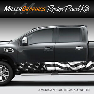 American Flag (black and white) Rocker Panel Graphic Decal Wrap Kit - Truck SUV