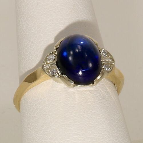 Vintage Art Deco Sapphire & Diamond Ring 14k Yellow Gold