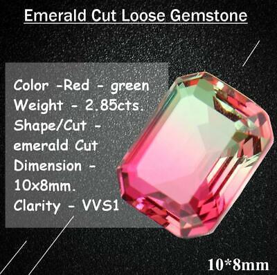 10x8mm BI-COLOR NON-NATURAL WATERMELON TOURMALINE Emerald Cut LOOSE GEMSTONE Bi Color Tourmaline Gem