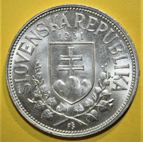 Slovakia 20 Kr. 1941 Brilliant Uncirculated Silver Coin - Cyril & Methodius NICE