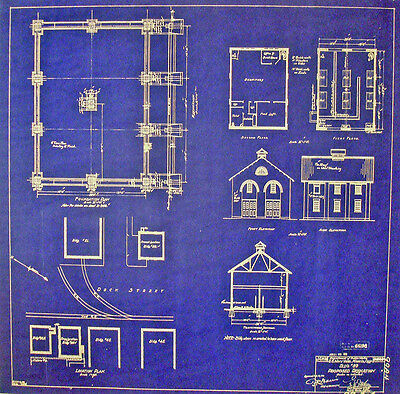 US Navy Fire House Mare Island San Francisco 1916 Blueprint 17 x 17 (250)