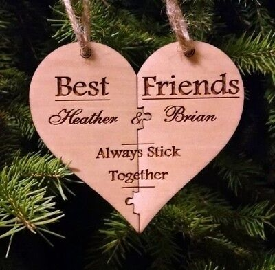 Best Friend Christmas Puzzle Ornament - Personalized - Puzzle Design w Gift Box ()