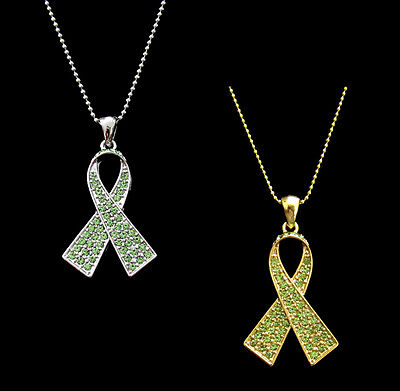 CRYSTAL LIME GREEN RIBBON BOW LYMPHOMA CANCER AWARENESS PENDANT CHARM NECKLACE