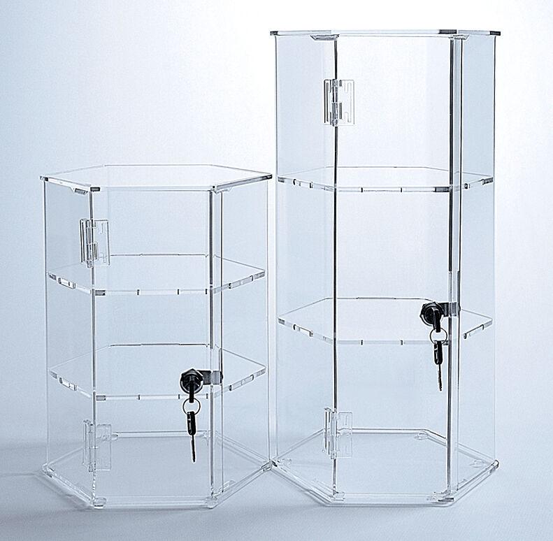 Acrylic Hexagonal Display | Locking Display Case | Clear Acrylic Case with Keys