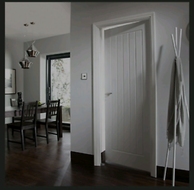 B&Q (NEW) Cottage Primed White Woodgrain effect Internal Doors
