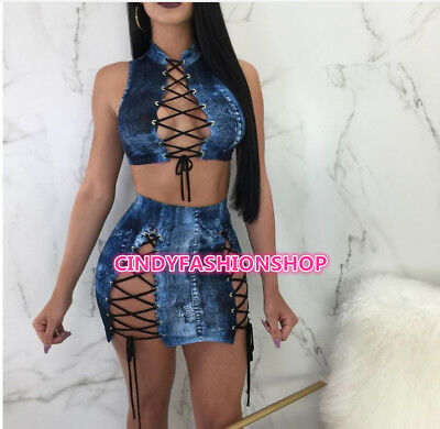Women Two Piece Set Sexy Bandage Vest Tank Tee Top+Mini Skirt Out Fit Night Club