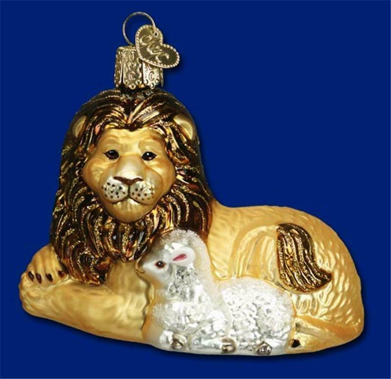 LION AND LAMB OLD WORLD CHRISTMAS GLASS BIBLICAL STORY ANIMAL ORNAMENT NWT 12086