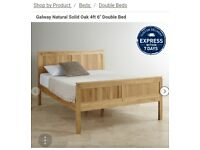 Solid oak double bed and mattress
