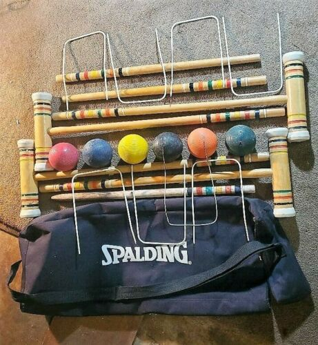 CROQUET Set Spalding Wooden 6 Player In CARRY BAG