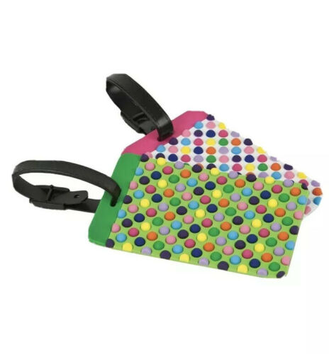 LUGGAGE TAGS TRAVELON / Multi dots / Set of 2/ Travel Easier And Safer.