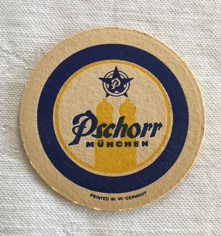 Vintage Pschorr German Beer Coaster (1) Made In West Germany Drink Bar Rare