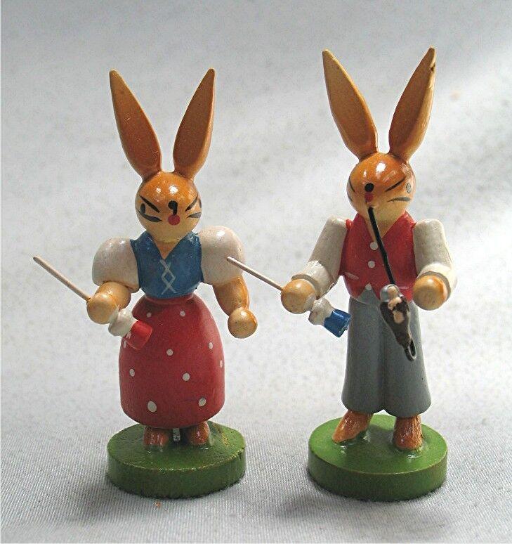 2 Vintage Wood Easter Bunnies