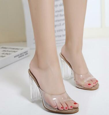 - Womens Sandals Shoes Mules Clear Transparent Crystal Heels Chunky Open Toe new